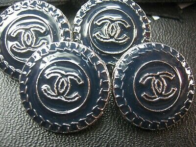 CHANEL  4 dark blue almost BLACK silver CC  24mm BUTTONS THIS IS FOR FOUR