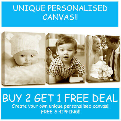 Canvas Print Your Photo On Large Personalised 38Mm Deep Framed -A4 A3 A2 A1