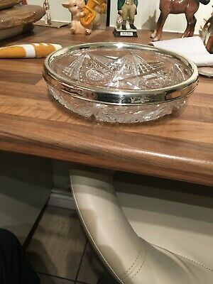 Vintage Silver Rimmed Cut Glass Bowl Marked Sterling Silver & 925