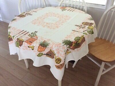 VINTAGE 1950/60s TABLECLOTH, KITCHEN THEME WITH VEGETABLES & KITCHEN ITEMS