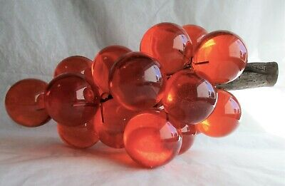 "18 Vintage Style Acrylic Lucite Centerpiece Orange Grapes 1 1/2"" Each"