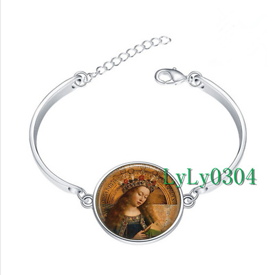 BLESSED VIRGIN MARY glass cabochon Tibet silver bangle bracelets wholesale