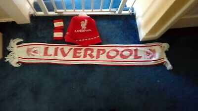 Liverpool Football Club Scarf Sweatband Woolly Beanie Bobble Hat Vintage Retro