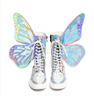 Hot Fashion Girls Punk Ankle Boots Multi-color Butterfly Wing skating shoes