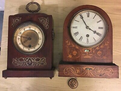 2 Antique wooden mantle clocks for restoration circa 1880? Brass & Pearl Inlay