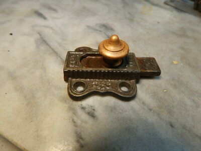 ANTIQUE VINTAGE CAST IRON CABINET DOOR LOCK  Brass Knob (001)