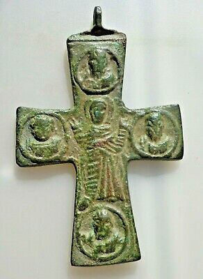 Medieval Byzantine Bronze Cross Pendant with Inscriptions.BIG.10th-12th C. AD.