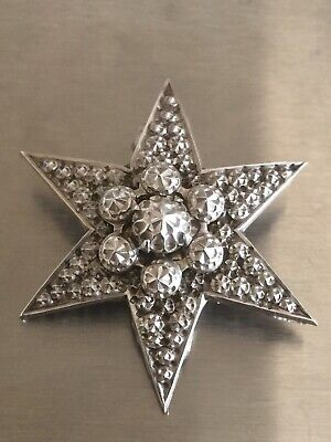 Antique Victorian Solid Sterling Silver Six Ray Star Large Brooch Pin.