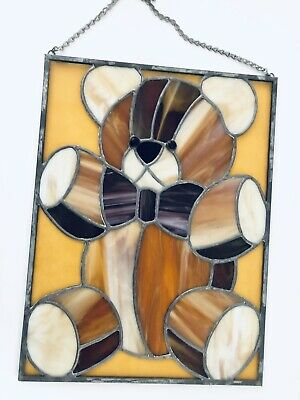 "16"" x 12"" Handcrafted Stained Glass Teddy Bear Window Panel Sun Catcher Lovely"