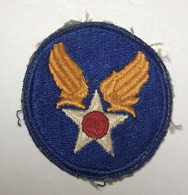 Us Army Air Force Aaf Hq Patch Ww2 Era Khaki Cut Edge Original Air Corps