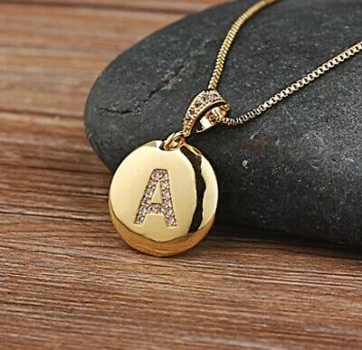 Gold Plated Initial Letter  A To Z Pendant Necklace Disk Alphabet Cz Charm