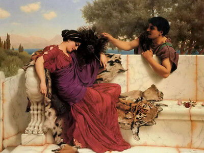 "Oil painting john william godward the old old story young romantic lover 24""x36"""