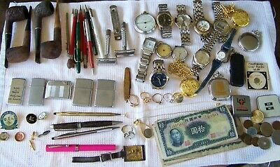 Vintage Junk Drawer Lot Rings Watches Pocket Watches Lighters & More