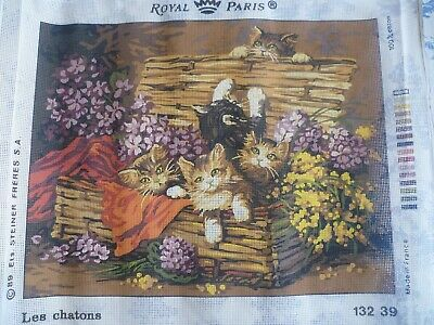 UNWORKED Tapestry Needlepoint Canvas, ROYAL PARIS  13239  CATS  45 cm x 59 cm
