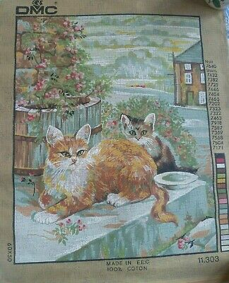 UNWORKED Tapestry Needlepoint Canvas, DMC 11303   CATS  50 cm x 60 cm