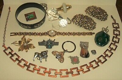 Junk drawer lot old vintage jewelry watch copper necklace niello bracelet relic