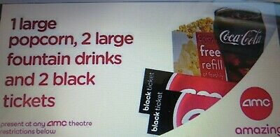 2 AMC Black Tickets, 2 Large Drinks, and 1 Large Popcorn No Exp.Date