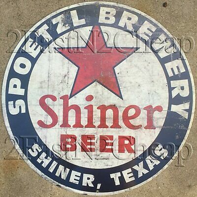 """Shiner Beer Shiner Texas Vintage Style Round Tin Sign 12"""""""
