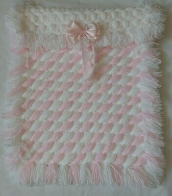 White & Pink Criss Cross  Baby Girl Pram Blanket With Removable Bow