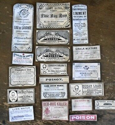 19 Apothecary Labels Stickers Halloween Poison Skull Crossbones Potions Repro