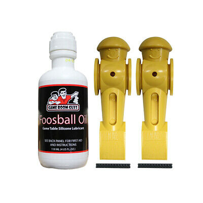 Game Room Guys Foosball Oil & 2 Yellow Tornado Foosball Men with Roll Pins