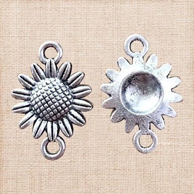 20PCs Ancient Silver Pendant Sunflower With Double Hole Pendants Fashion Jewelry