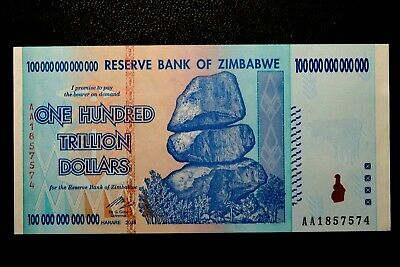 "ZIMBABWE ""UNC"" $100.000.000.000,000 One Hundred Trillion Dollars Note BID 99p"