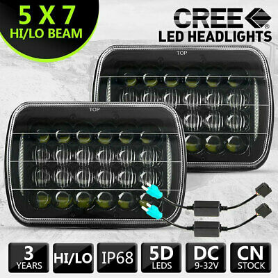 PAIR HILUX LED UPGRADE HEAD LIGHT 5X7INCH HEADLIGHT REPLACEMENT Hi/Lo + ADAPTERS
