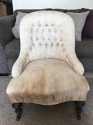 Antique Button Back Nursing Chair Cream Fabric Castors Reupholstery Victorian