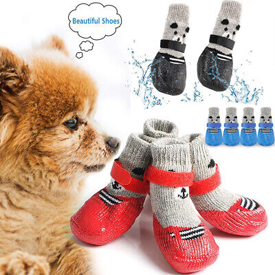 4Pcs Pet Dog Cat Knitted Socks Anti-Slip Paw Protector Winter Warm Indoor Shoes