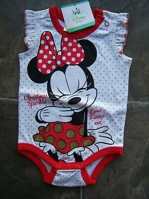 BNWT Baby Girl's Minnie Mouse Christmas Bodysuit/Romper Size 00