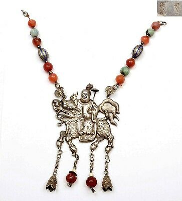 Chinese Sterling Silver Enamel Boy Kirin Turquoise Agate Bead Pendant Necklace