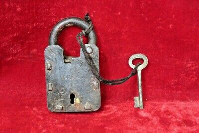 Brass Lock and Key Vintage Old Antique Iron Padlock Collectible BG-75