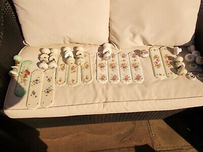 joblot of  vintage door knobs and finger plates pretty handpainted stamped