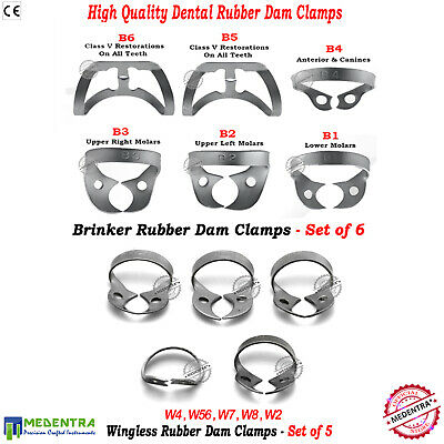 Dental Rubber Dam Universal Clamps Brinker,Wingless Endodontic Clamp Set of 11pc