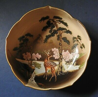 Japanese Satsuma Bowl With Deer - Signed - Late 19Th Century