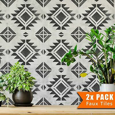 PACHUCA Mexican Geometric Tile Stencil for Bathroom Kitchen Patio Walls Floor