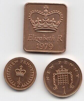 1979 Shield 1p & 1/2 penny Proof Unc Mint Condition Extremely Nice Coin  (1174)