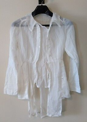 Antique Victorian Men's Sheer White Dress Shirt With Tails 19th Century 1800s