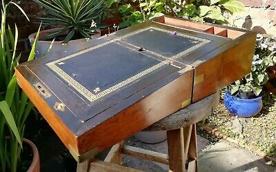 Antique 19thc Victorian Wooden Writing Slope Box Oak Good Condition