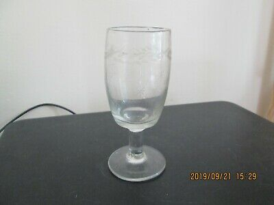 Etched 19th Century Antique Tavern Glass Rummer