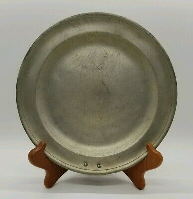 """Antique 8"""" Pewter Plate With Rose & Crown Hallmark & Other Marks"""