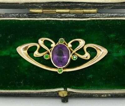 Gorgeous15ct Gold Antique Art Nouveau Brooch with Amethyst & Emerald.4.08grams