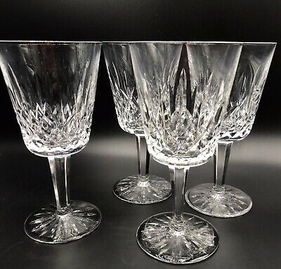 Vintage 4 WATERFORD CRYSTAL Lismore WATER GOBLETS Old Mark Free US Ship