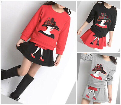 Girls Autumn Clothes Set Skirt Tops Outfit Casual School kids 2pcs Age 3-9 years