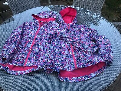 George Girls Flower Floral Raincoat Jacket Age 11 - 12