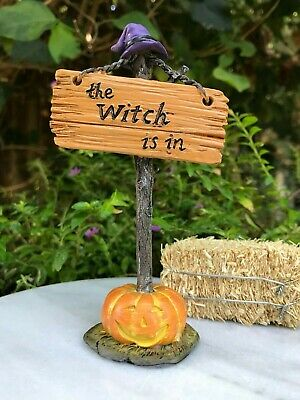 Miniature Dollhouse FAIRY GARDEN Accessories ~ The Witch is In HALLOWEEN Sign