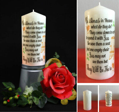 Christmas Candle, Printed Film ONLY Christmas in Heaven memorial candle quote