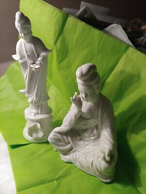 2 Beautiful White Oriental Figurines Japan
