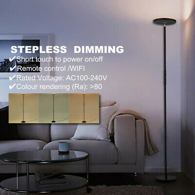 Led Floor Lamp Dimmable Iron Stand Light Reading Bedroom Remote Control Switch